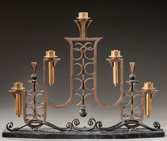 Raymond Subes, style of, wrought iron console table lamp with geometric shapes, c. 1940, 47cm H.