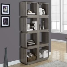 Monarch Specialties Dark Taupe Reclaimed-Look Bookcase, Give your home a modern art-deco look with this 8 cubic shelf bookcase. Cube Bookcase, Bookshelves, Open Bookcase, Quality Furniture, Cool Furniture, Furniture Outlet, Online Furniture, Display Shelves, Shelving