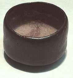 A 16th century black Raku ware style chawan, used for thick tea