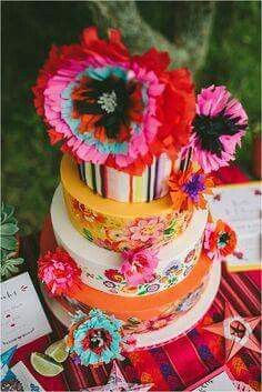 A burst of colorful florals and patterns details for your wedding cake will add a memorable touch for your fiesta themed wedding day. Bridal Shoot, Wedding Shoot, Wedding Day, Wedding Dresses, Wedding Blog, Wedding Decor, Wedding Reception, Mexican Themed Weddings, Themed Wedding Cakes