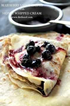 Blueberry Sauce Crepes - Soft and silky Crepes filled with a sweet Honey Whipped Cream and accompanied by a warm Blueberry Sauce. Blueberry Crepes, Blueberry Sauce, Waffle Recipes, Brunch Recipes, Dessert Recipes, Pancake Recipes, Dinner Recipes, Crapes Recipe, Breakfast Crepes