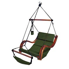 New Mtn Deluxe Beach Wood Hammock Swing Lounge Chair W/footrest Cup Holder Green…