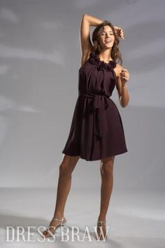 Draped Flowers A-Line Round Neckline Short/Mini-length Bridesmaid Dresses