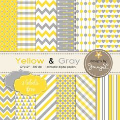 Yellow and Gray / Grey Printable Digital papers by JennyLDesignsShop,