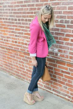pink blazer with colored scarf -- like it!