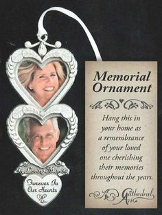 Amazon.com - Cathedral Art CO743 In Loving Memory Double Heart Photo Frame Memorial Ornament, 3-1/2-Inch - Decorative Hanging Ornaments