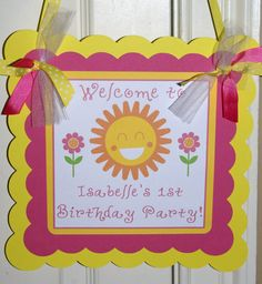 You are my Sunshine Birthday Door Sign - Pink and Yellow by The Party Paper Fairy on Etsy, $15.00
