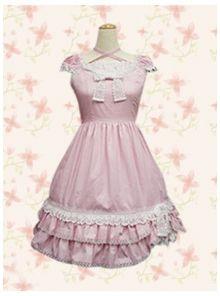 Sweet Pink Lace Bow Ruffles Sleeveless Straps Cotton Lolita Dress