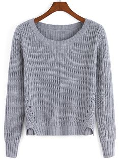 Grey Round Neck Crop Knit Casual Sweater