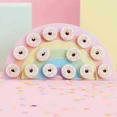 This Ginger Ray Rainbow Donut Wall Kit includes a donut wall designed to look like a rainbow and 14 pegs you can attach to it. Use this donut wall kit for your pride event, rainbow birthday party, or any other special occasion! Donut Birthday Parties, Rainbow Birthday Party, Donut Party, Rainbow Wedding, Unicorn Birthday, Pastel Party Decorations, Donut Decorations, Balloon Garland, Balloons