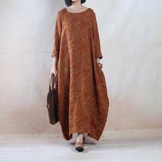 Customize Women Linen Dress Loose Fitting Dress Maxi Dress - Buykud - 1