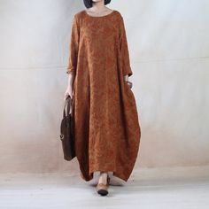 Customize Women Linen Dress Loose Fitting Dress Maxi Dress - Buykud - 1