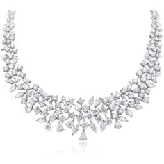 29.59ct Diamond Platinum Necklace ($92,930) ❤ liked on Polyvore featuring jewelry, necklaces, accessories, diamond jewellery, diamond necklaces, platinum necklace, round necklace and platinum jewelry