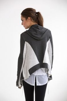 Luxe French Terry hooded wrap with drape shawl collar and tailored back. Active Wear For Women, Women Wear, Yoga Fashion, Fashion Outfits, Sport Outfits, Cute Outfits, Athleisure Fashion, Fashion Details, Fashion Design