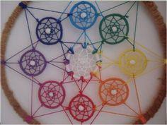 Dromen-Webje-Spinnen-Webzaken ~Dromenvanger Regenboogkleuren - Chakra~