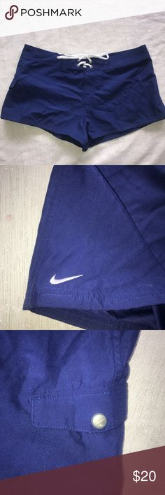 "Nike Swim Shorts Size Large Blue with White Tie Nike Swim Shorts Size Large 100% Polyester Laid flat 17.5"" Waist, 10"" Length Excellent Condition with no noted flaws  Shop my Closet for Women's and Children's clothing and accessories  Shop @mensstylehouse for top brand men's fashion. Nike Swim"
