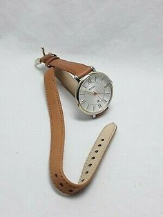 Fossil Gold Tone Jacqueline Women's Tan Leather Band Silver Dial And Date ES3550 | eBay Tan Leather, Gold Watch, Fossil, Im Not Perfect, Quartz, Band, Paper, Silver, Accessories