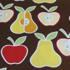 Apples and Pears on Brown Fabric - By the Yard. $8,50, via Etsy.
