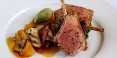 Roasted rack of English lamb with chargrilled Provencal vegetables, olive tapenade and basil pesto