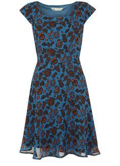 Flower And Bat Print Dress @Yumi Direct #pintowin