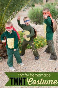 Thrifty Homemade TMNT Costumes! Just three simple steps to make a DIY Teenage Mutant Ninja Turtle costume on a budget for Halloween.