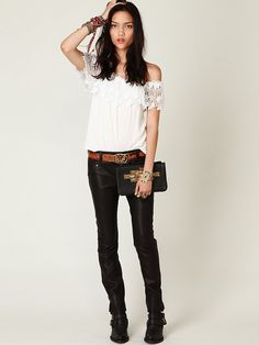I want these however many times I already pinned. => Free People FP Skinny Vegan Leather Pant, $49.95