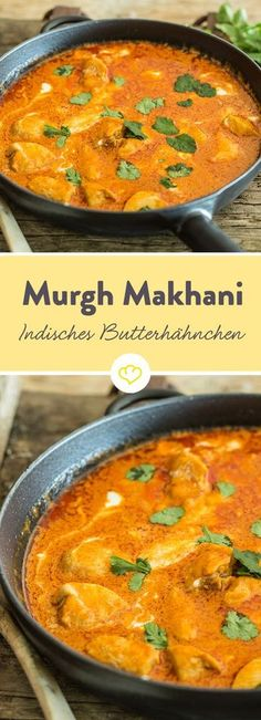 Indian Butter Chicken (Murgh Makhani)-Indisches Butterhähnchen (Murgh Makhani) Tender chicken, tomatoes, cream and lots of aromatic spices – Indian buttercream (Murgh Makhani) tastes deliciously exotic. Lunch Recipes, Dinner Recipes, Cooking Recipes, Healthy Recipes, Indian Food Recipes, Asian Recipes, Makhani Recipes, Indian Butter Chicken, Food Porn