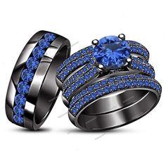 3.50 Carat Round Cut Blue Sapphire 4 Pieces Trio Ring Set 14K Black Gold Finish #beijojewels #WeddingEngagementAnniversaryBrithdayPartyGift