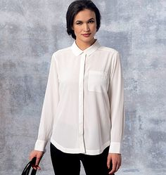 DKNY for Vogue Patterns. New shirt pattern  has collar, collar band, mock-fly, concealed button closing, sleeves with pleats, placket and button cuffs, and shaped hemline. Sew V1462, Misses' Shirt and Camisole