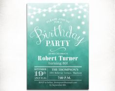 80th Birthday Party Invitation /90th / Any Age / Watercolor Ombre Turquoise  / String lights / Fairy Lights / Digital Printable Invite
