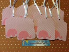 Polka Dot Pink Elephant Tags with White Ribbon Ties - Set of 12, Baby Shower, Hang Tags, Favor Tags. $3.00, via Etsy.