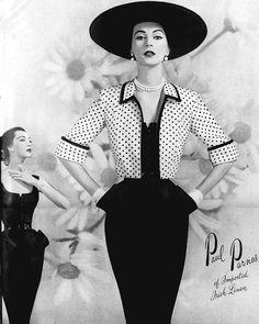 Dovima.Vogue 1950. Dovima modeling a dress and jacket by Paul Parnes.