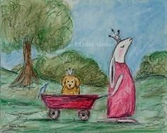 Print Princess Bunny Prince Puppy Rabbit Childrens Kids Art Original Painting Illustration by California Artist Debra Alouise. Now Available in Print in this Listing....... I have had this Image in my head for a while so I had to paint this Now Available in this Print.......Princess Bunny Rabbit pulling her little Prince Puppy with a Blue Bird on the back of the Red Wagon. The Original painting was done by building layer upon layer. I hand mix the tints & values for each layer. To create...