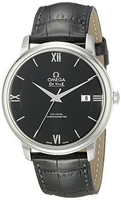 Omega Mens 42413402001001 Stainlesss Steel Watch with Black Leather Band ** Visit the image link more details.