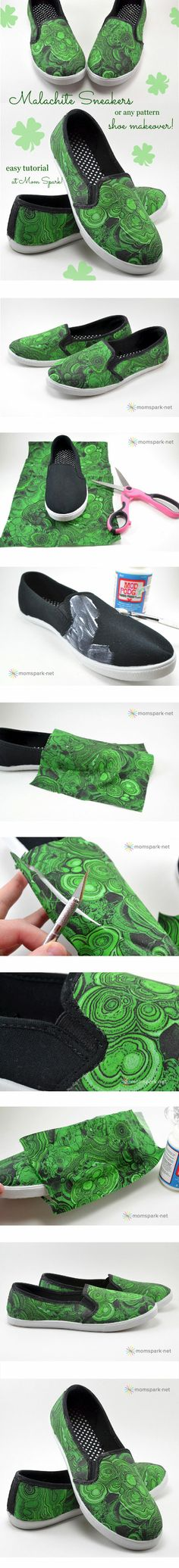 DIY: Shoe Makeover — Malachite Sneakers from mindsparklemag.com/?sparkles/diy-shoe-makeover-malachite-sneakers.html/