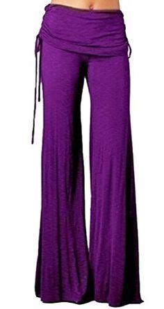 09be11967fff Fulok Women s Casual Loose Wide Leg Mid-Rise Palazzo Pants Trousers Purple M