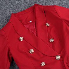Amazon.com: UONBOX Women's Cut Out 2 Pieces Slim Fit Blazer Jacket Pants Suit Set (XS, Black2): Clothing Red Blazer, Blazer Jacket, Black And White Suit, Party Suits, Double Breasted Blazer, Red Pants, Suits For Women, Sleeve Styles, Jackets