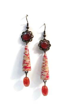 Boucles d'oreilles Pierre Naturelle Pendantes - Perles en papier - Cabochon - Oranges - Cuivrés : Boucles d'oreille par cap-and-pap