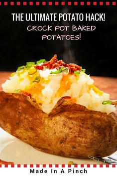 Gone are the days of making baked potatoes in the oven or even the microwave. Hello, #slowcooker! This one cooking hack will save you tons of time and produce amazing fluffy baked potatoes!  #bakedpotato #slowcookerrecipes
