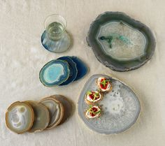 Agate Plates and Coasters from Vivaterra. Saved to Home: Kitchen. Shop more products from Vivaterra on Wanelo. Agate Coasters, Stone Coasters, Kitchen Sale, Green Gifts, Serving Plates, Rocks And Minerals, Gift Guide, Dinnerware, Holiday Gifts