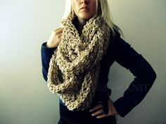 Beige Huge Loop Scarf by LoveandKnit on Etsy from LoveandKnit on Etsy. Saved to My Wishlist. Chunky Knit Scarves, Oversized Scarf, Large Scarf, Cute Scarfs, Big Knits, Cozy Scarf, Circle Scarf, Beige, Swagg