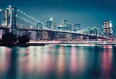 The city lights beckon in this nighttime skyline mural. With a modern, urban glamour and the iconic Brooklyn Bridge, this wall mural will light up your room. x 8 Panel Mural Paste Included Vinyl Coated Paper Bridge Wallpaper, Wallpaper Wall, New York Wallpaper, Photo Wallpaper, Unique Wallpaper, Pink Wallpaper, Wallpaper Ideas, Neon, Poster Xxl
