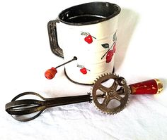 Vintage Red Handle Kitchen Utensil Ecko Hand Mixer by NonabelleVintage,