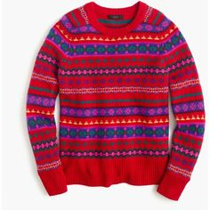 J.Crew Holly Sweater ($66) ❤ liked on Polyvore featuring tops, sweaters, red fair isle sweater, red wool sweater, fairisle sweater, woolen sweater and long sleeve sweater
