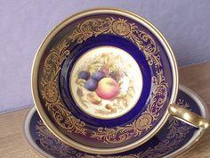 Antique Aynsley D. Jones fruit tea cup set navy by ShoponSherman, $129.00