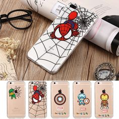 Cool Spoof Spiderman Captain America Avenger Anti-knock Phone Case For iPhone