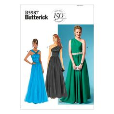 Butterick Sewing Pattern Misses' Gathered Floor-Length Dresses Mccalls Patterns, Vogue Patterns, Dress Patterns, Sewing Patterns, Gown Pattern, Evening Dresses, Formal Dresses, Formal Prom, Miss Dress