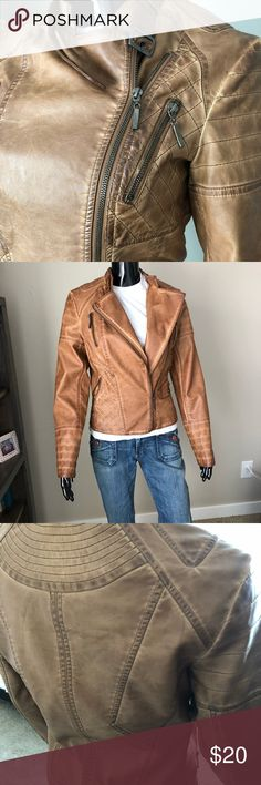 Faux leather moto jacket Like new faux leather jacket. Great accent to any outfit 🖤 Jackets & Coats