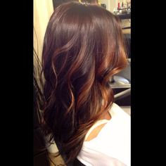 Brunette and Caramel face framing Balayage highlights over long layered curly hair