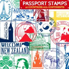 This is for a set of 26 Passport Stamps from around the world. Altogether there are 52 PNG clip art stamps including the blacklines. There are stamps from countries in EVERY continent except Antarctica. These stamps should also coincide with most of the Christmas and Holidays Around the World activities on TPT.